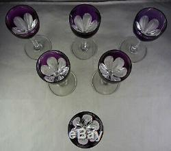 Set Of Six Baccarat French Crystal Glass Amethyst Cut to Clear Genova Cordials