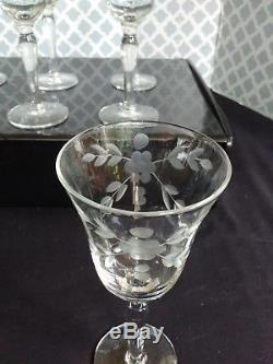 Set of 12 Optic Gray Cut Floral Crystal Dessert Wine Glasses Vintage 1950s/60s