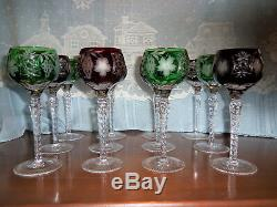 Set of 12 Ruby Red & Green Ajka Marsala Cut to Clear Crystal Wine Glasses 8-1/4