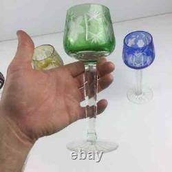 Set of (5) Ajka Bohemian Crystal Wine Hock Glasses Marsala Cut to Clear