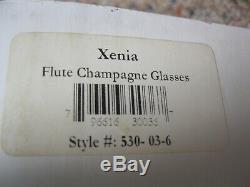 Set of 6 Faberge Xenia Crystal Colored Champagne Flutes/Glasses, Cut to Clear-NIB