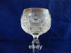Set of 6 VTG Czech Crystal Wine Goblets/Glasses Bohemian Queen Lace Hand Cut