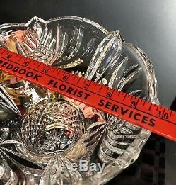 Shannon Crystal Trumpet Vase 24% Lead made Czech Republic LARGE heavy deep cuts