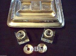 Sheffield Plate Partner's Inkstand With Cut Cube Glass / Crystal Wells Superb