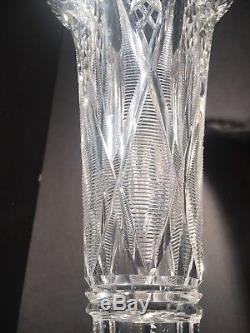 Signed Hawkes ABP Cut Glass Crystal Trumpet Vase 17 3/4 Tall