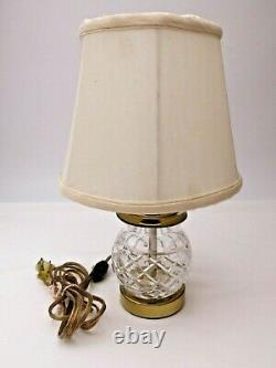 Signed Waterford Crystal Diamond Cut Electric Table Lamp Brass With Original Shade