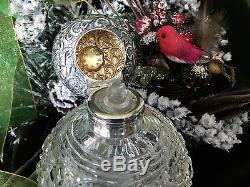 Silver Essence English Sterling Silver and Cut Crystal Perfume Bottle Flask