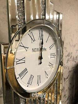 Silver Mirror New York Grandfather Clock Inlaid Sparkling Diamond Cut Crystals