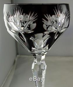 Six Various Cut to Clear Bohemian Czech Crystal Cordial Glasses Various Colors