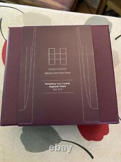 Soho home 2 X Highball Roebling Cut Crystal Glasses BNIB