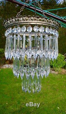 Stunning Vintage Cut Glass Crystal Ceiling Light Chandelier 3 Tiers Icicles +