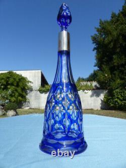 Superb Crystal Blue Cut To Clear Decanter Baccarat Bohemian Val Saint Lambert