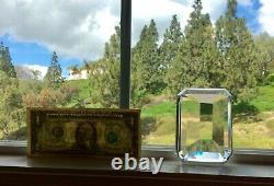 TIFFANY & CO, Vtg Faceted Emerald Cut Diamond Crystal Paperweight! Blank