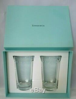 Tiffany & Co Japan Swing Pattern Crystal Highball Collins Tumbler Pair New IOB