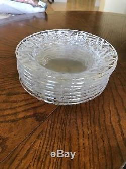 Tiffany & Co. Rock Cut Crystal Glass Set of 8 Plates 8 Round