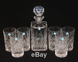 Tiffany & Co. Sybil Cut Glass Crystal Decanter & 6 Highball Glasses Tumblers NEW