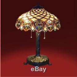 Tiffany Lamp Tiffany Style Table Lamp / Reading Lamp Hand Made Cut Glass NEW