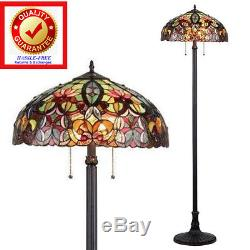 Tiffany Style Lamp / Floor Lamp Antique Bronze Finish Cut Stained Glass-FREE Shp