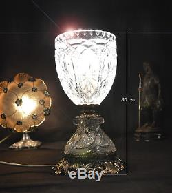 Top quality Art Deco crystal cut glass table lamp open chalice original fittings