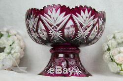 VAL SAINT LAMBERT Belgian Crystal purple cut clear Centerpiece bowl 2 parts