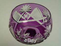 VAL St LAMBERT Crystal BERNCASTEL Cut Coloured Hock Glasses Set of 6 (b)
