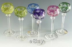 VAL St LAMBERT Crystal BERNCASTEL Cut Coloured Liqueur Glasses Set of 6
