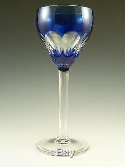 VAL St LAMBERT Crystal TILLY / MONTANA Cut Coloured Hock Glasses Set of 6