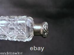 VICTORIAN CUT GLASS PERFUME SCENT BOTTLE STERLING TOP. 1880's SUPER GIFT