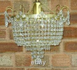 VINTAGE 1970s WATERFALL BAG CUT GLASS CRYSTAL CEILING CHANDELIER LIGHT