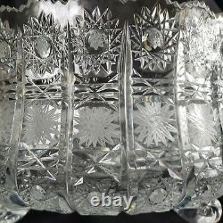 VINTAGE BOHEMIA Czech Hand Cut Crystal QUEEN'S LACE FOOTED BOWL HUGE RARE FANCY