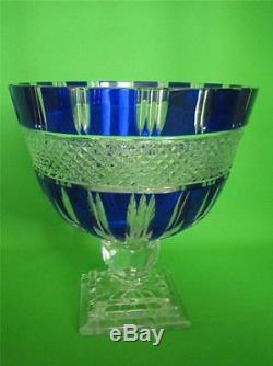 VINTAGE Bohemian Czech Cut to Clear Cobalt Crystal Large Footed Bowl/Centerpice