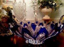 VINTAGE CZECH COBALT BLUE SIGNEDHAND CUT BOHEMIAN CRYSTAL VASEest from 1930s