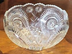 VINTAGE L. E. Smith CUT GLASS PINWHEEL & STARS PUNCH BOWL, UNDERPLATE & 12 CUPS