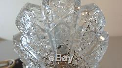 VINTAGE NITE LITE CZECH ART DECO GLASS LAMP, CUT CRYSTAL GLOBE, c. 1920's