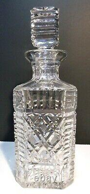 VINTAGE Waterford Crystal MASTER CUTTER Strawberry Cut Square Decanter 10