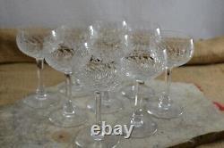 VINTAGE set of 9 cut glass crystal hock white wine glasses