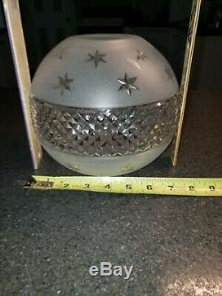 VTG. HEAVY Frosted Cut Crystal Glass Lamp Ball Globe Shade