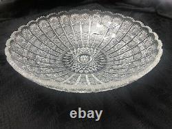 VTG Queen Lace Crystal Bowl 13 1/2 Inch Bohemian Czech Hand Cut