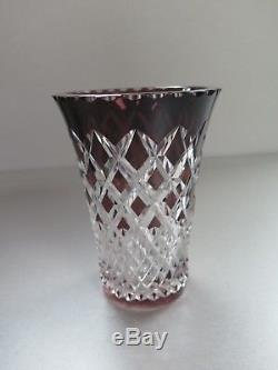 Val St Lambert Amethyst Purple Cut To Clear Crystal Glass Vase Signed