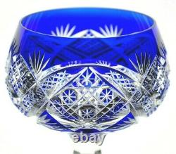 Val St Lambert Dusseldorf Crystal Wine Goblet Cobalt Blue Cut to Clear Rare