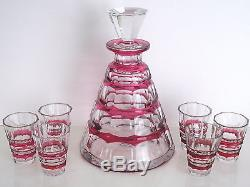 Val St Lambert Muscadet Cranberry Cased Cut To Clear Crystal Decanter + Cordials