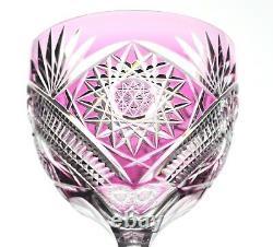 Val St Lambert Pink Lt. Amethyst Cut to Clear Cased Crystal Wine Goblet Vintage