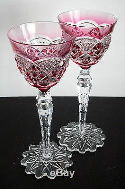 Val St Lambert Verrept Cranberry Pink Cased Cut Clear Crystal Rhine Wine Goblet