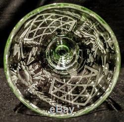 Vaseline Glass Art Deco Decanter/Crystal stopper & 6 Wheel Cut Crystal Cordials