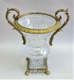 Very Fine 13 GILT BRONZE & CUT CRYSTAL Mounted Vase c. 1930 1950 vintage