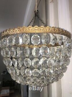 Very large cut glass crystal bag chandelier 32cm wide