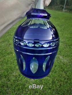 Vintage 10.25 Crystal Decanter Cobalt Cut to Clear Glass Faceted