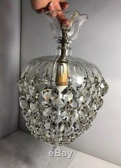 Vintage 1920s Unusual Small Cut Glass Crystal Light Chandelier Jelly Shape