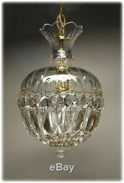 Vintage 1950's Unusual Small Cut Glass Crystal Light Petite Chandelier # 2