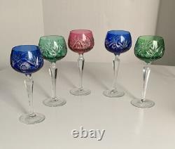 Vintage 5 color Bohemian Czech Crystal Cut to Clear Wine Goblet Stem Glass 8
